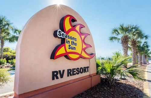 Seasons in the Sun RV Resort Entrance Sign